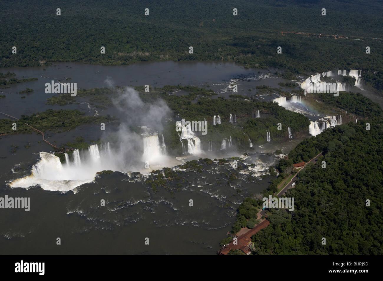 aerial view of iguazu falls and devils throat iguacu national park, parana, brazil, south america - Stock Image