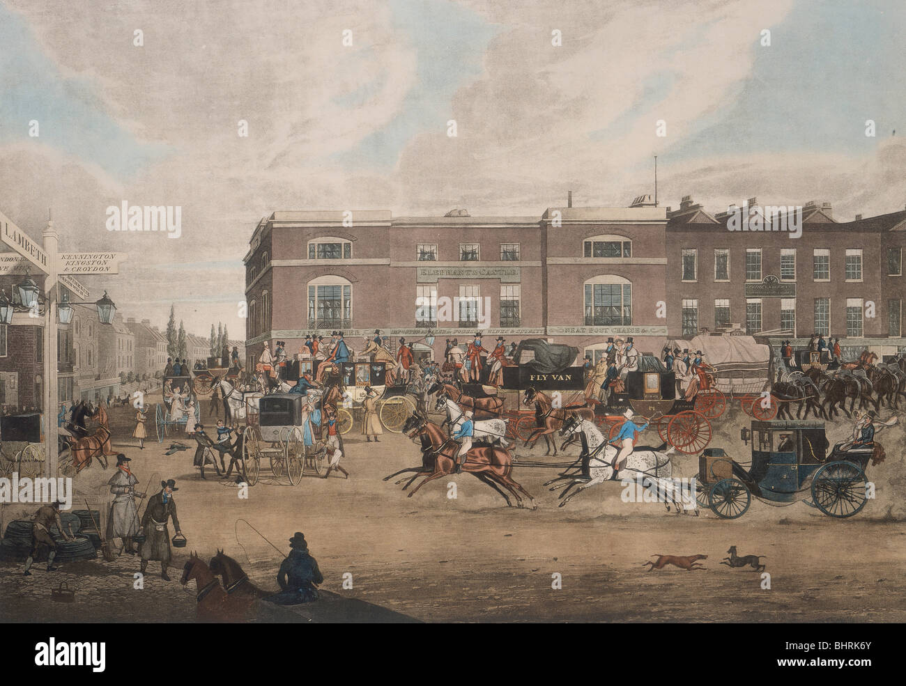 Coaches at the Elephant and Castle, London, first half of the 19th century. Artist: Theodore Henry Adolphus Fielding - Stock Image