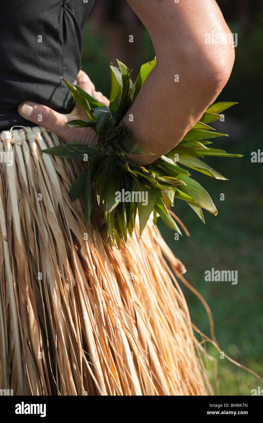 Detail of ti leaf skirt of traditional Kahiko hula dancer - Stock Image