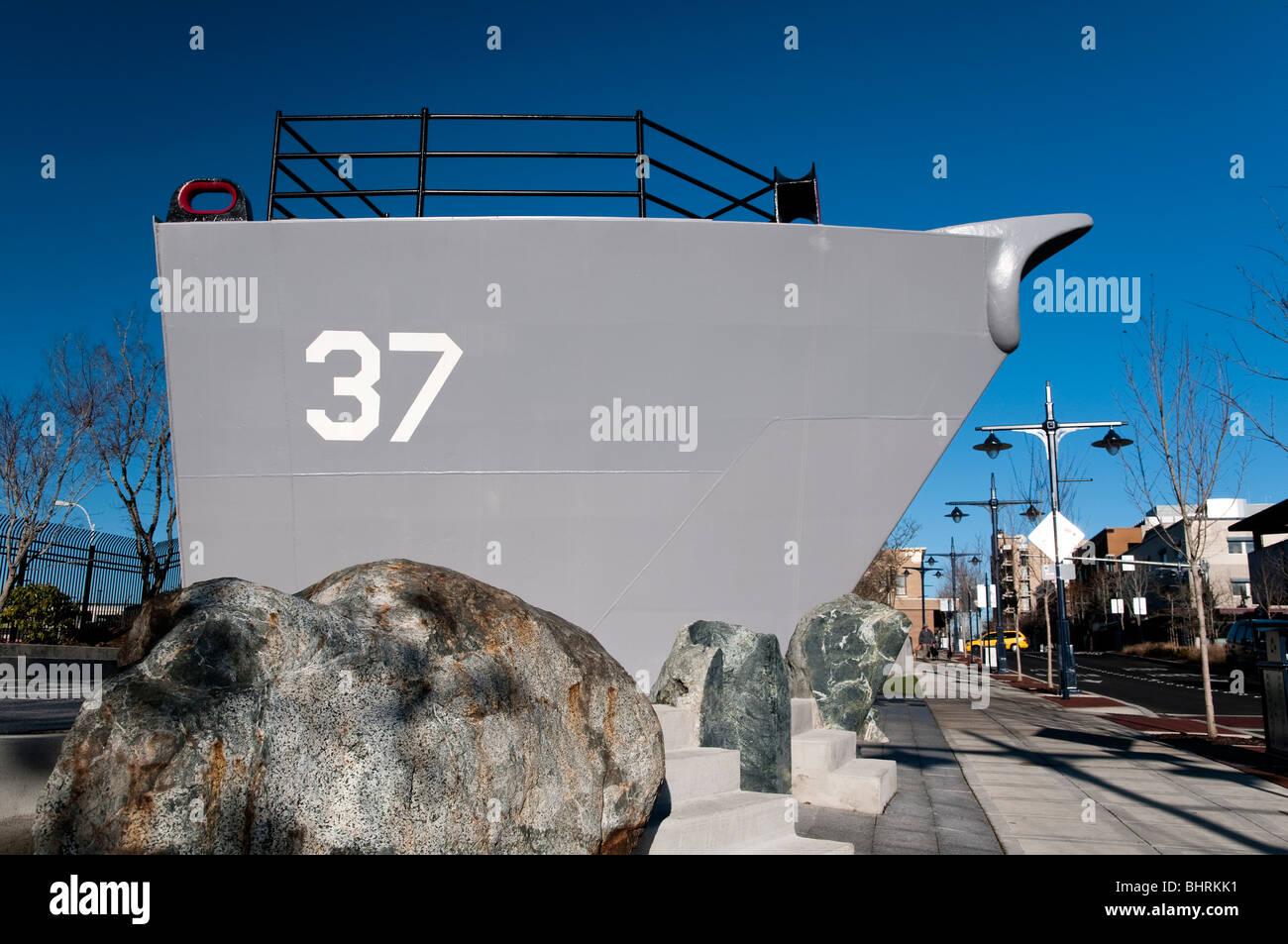 US navy submarine monument outside the Bremerton Naval Museum, Bremerton, Washington, USA - Stock Image