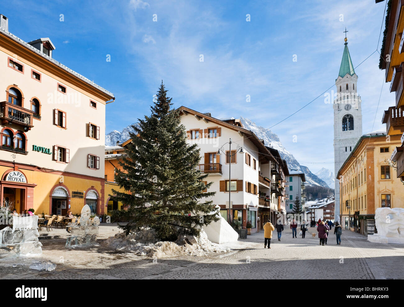 Corso Italia, the main street in the town centre with the Hotel Royal to the left, Cortina d'Ampezzo, Dolomites, - Stock Image
