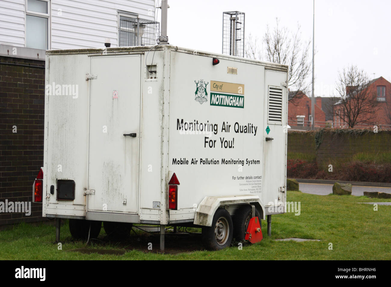 A mobile air pollution monitoring system in a U.K. city. - Stock Image