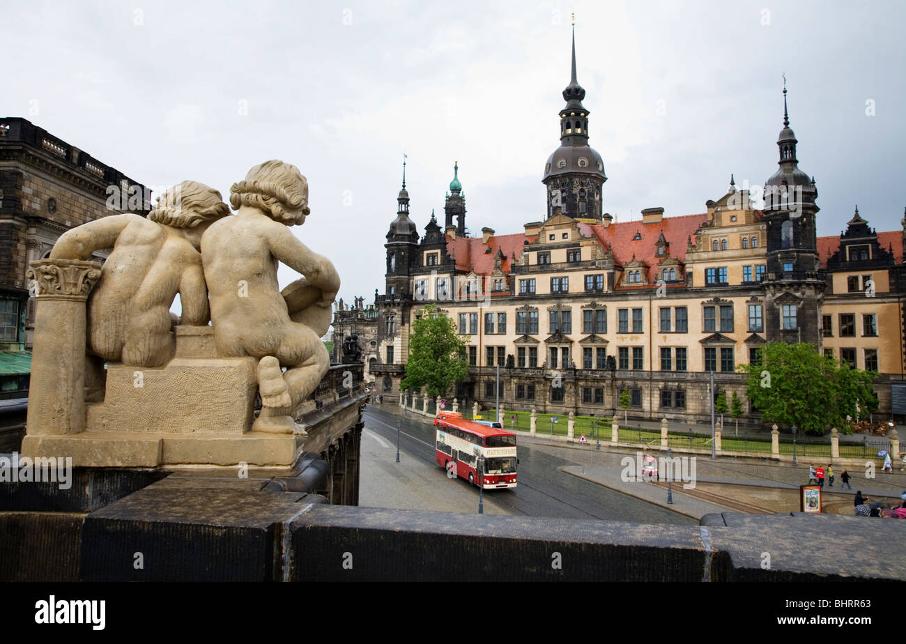 Dresdner Schloss Castle and Zwinger sculpture Detail Sophienstrasse Dresden, Germany Stock Photo
