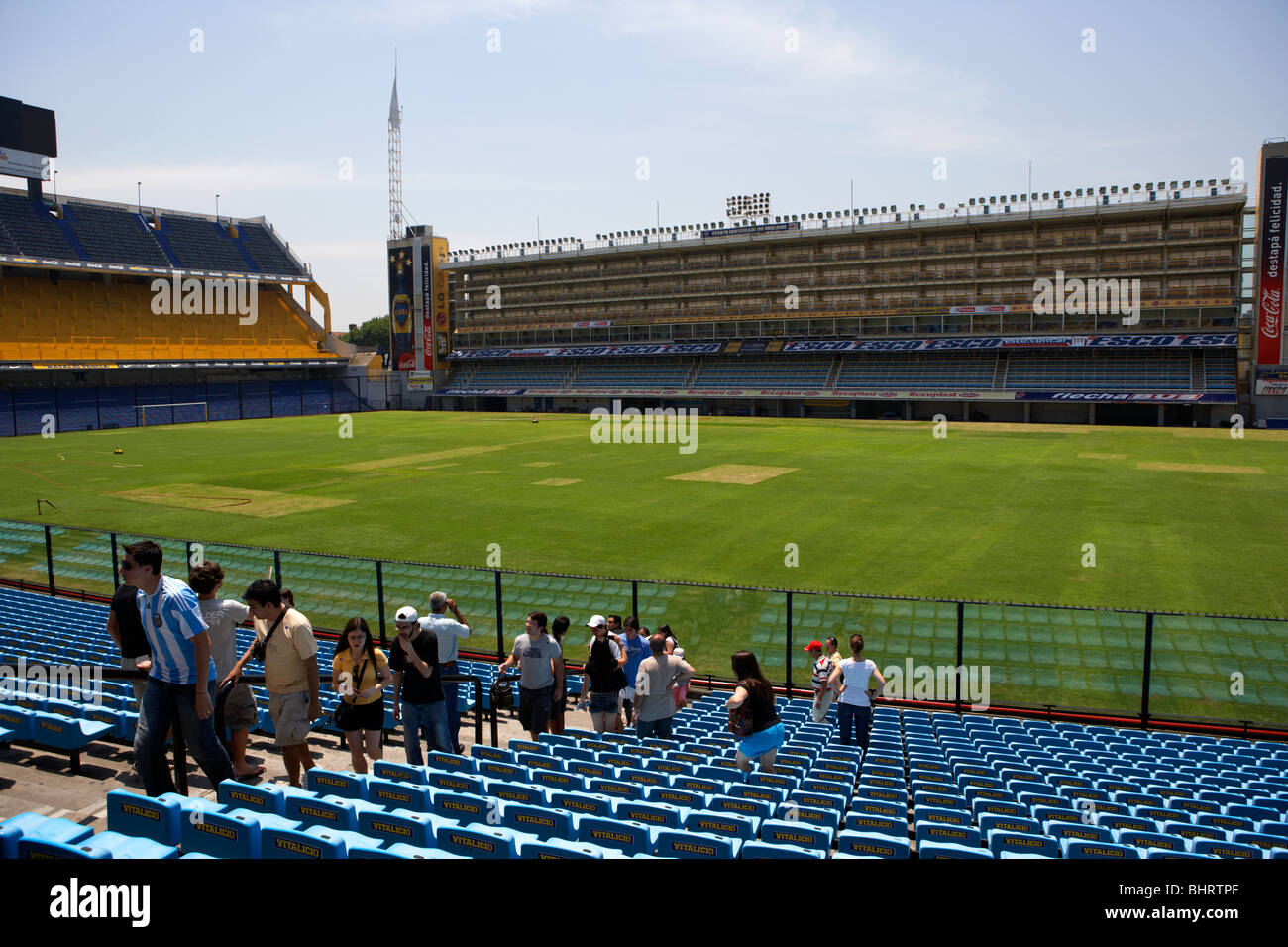 tourists on stadium tour of the interior of Alberto J Armando la bombonera stadium home to atletico boca juniors - Stock Image