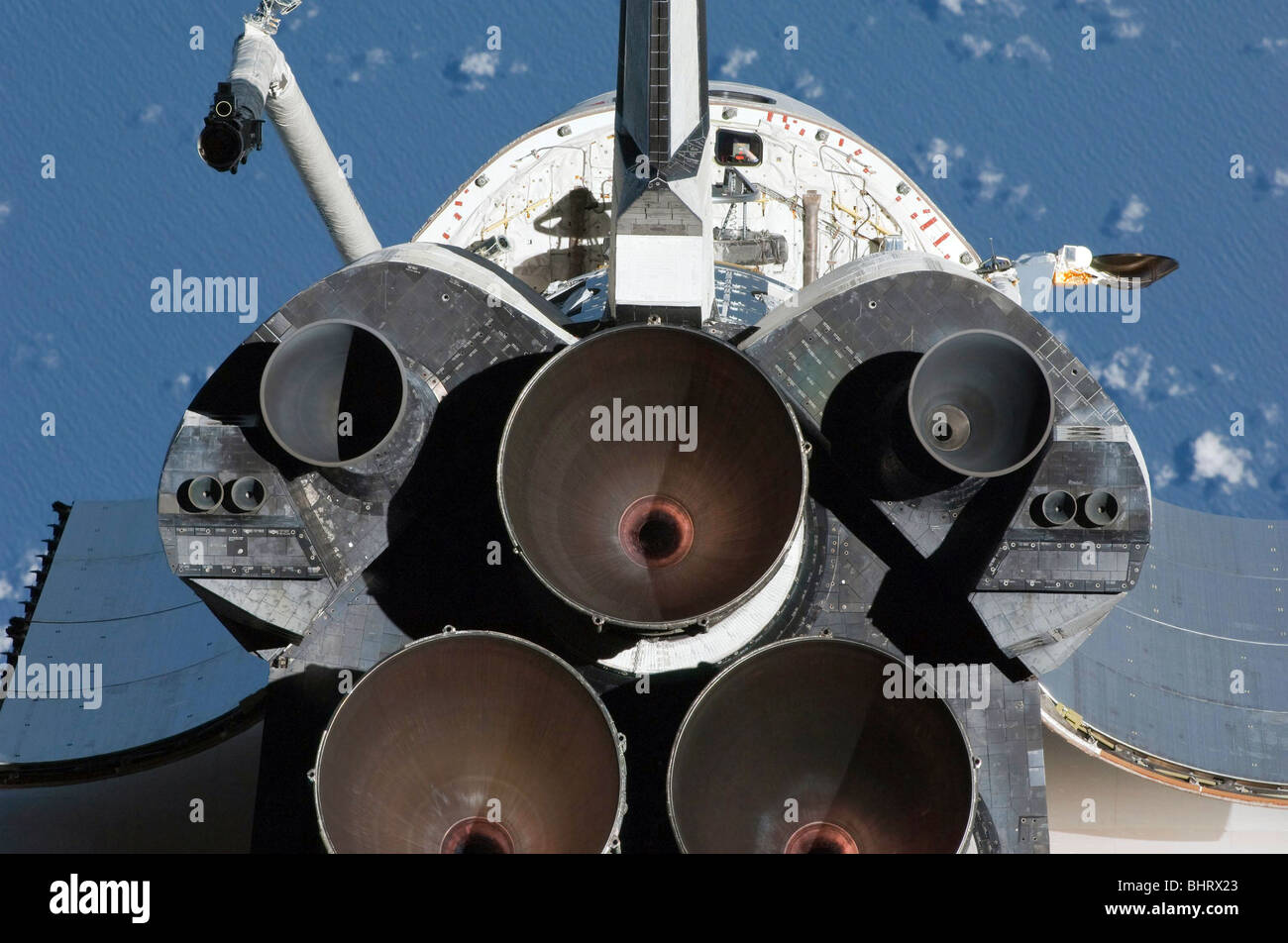 February 9, 2010 - View of the three main engines of Space Shuttle Endeavour's aft section. - Stock Image
