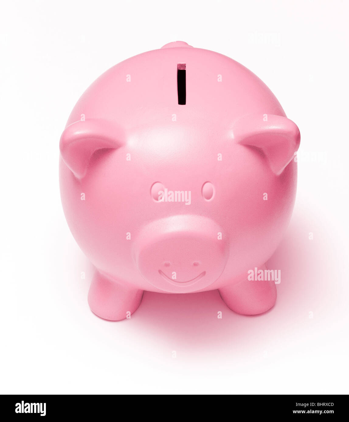 Happy Face Pink Piggy Bank on a white background - Stock Image