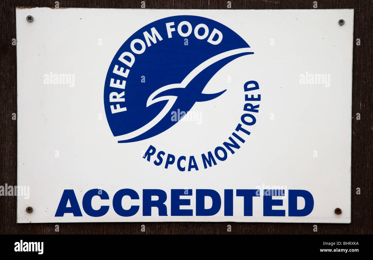 RSPCA Freedom Food Sign On A Free Range Poultry Farm - Stock Image