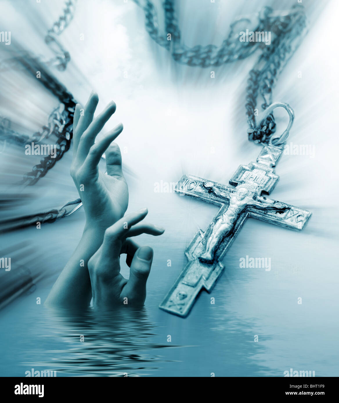 Abstract religious background with the Christian cross and stretching hands to the sky - Stock Image