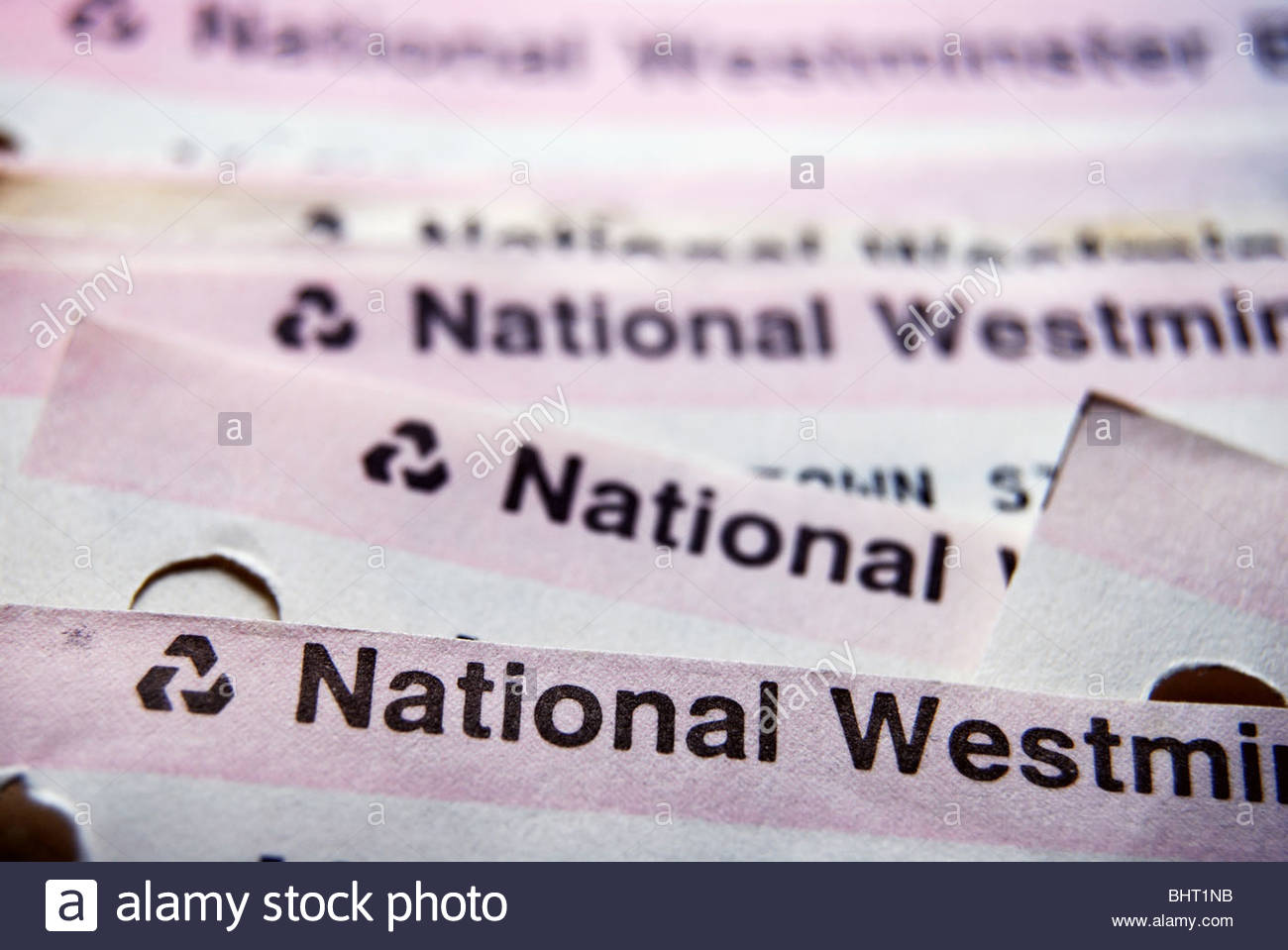 Pile of National Westminster bank statements. - Stock Image