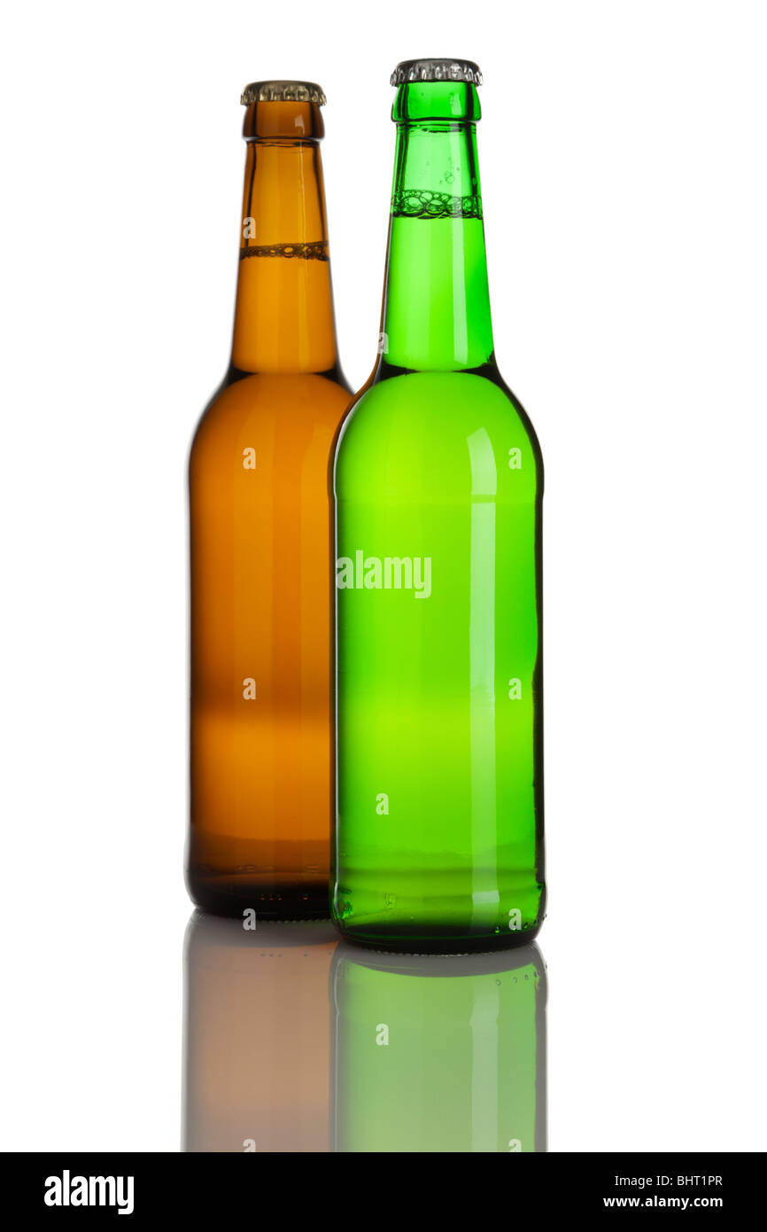 two full lager beer bottles without labels - Stock Image