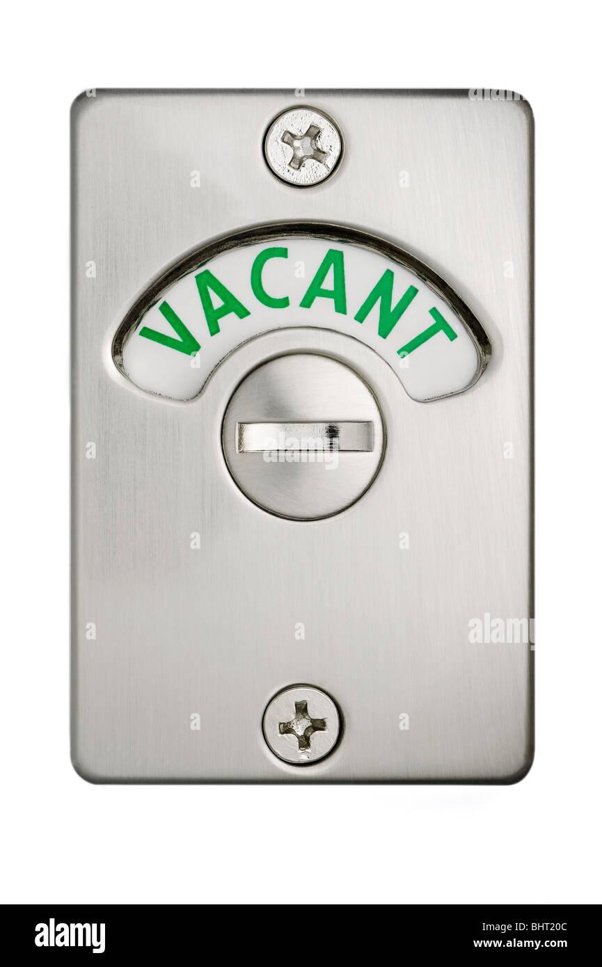A toilet door lock showing vacant - Stock Image