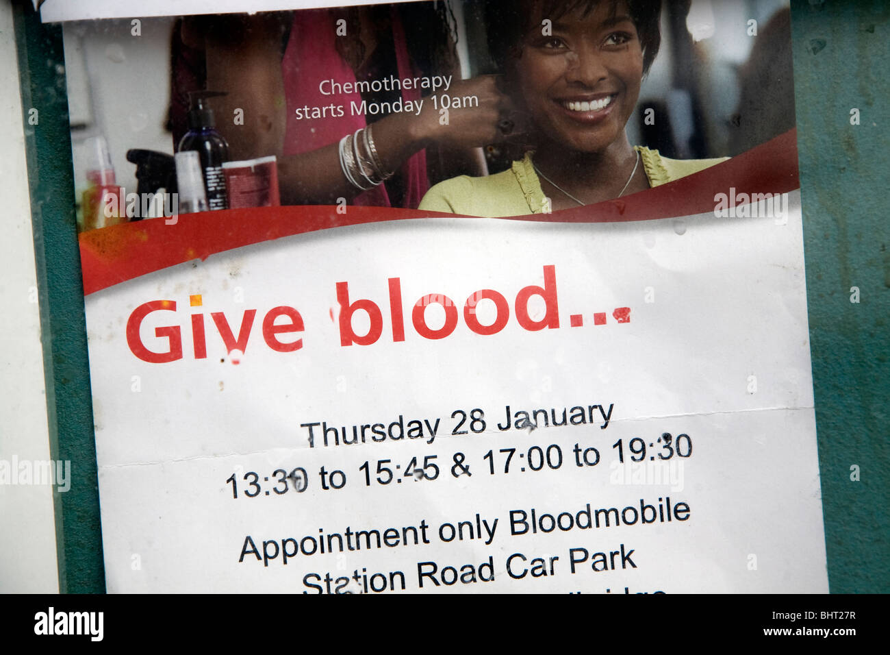 Give Blood donor advert sign - Stock Image