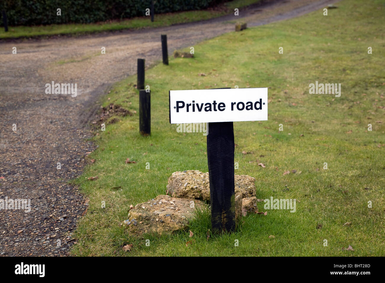 Private road sign grass verge - Stock Image