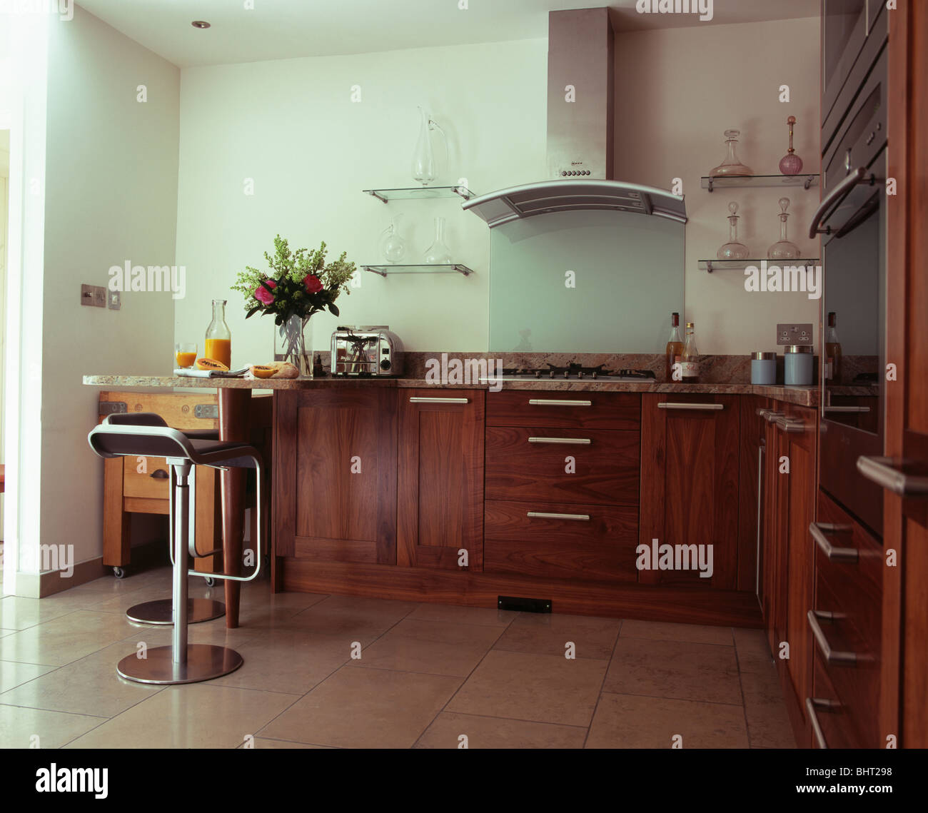 Fabulous Modern Kitchen With Dark Wood Fitted Units And Stainless Caraccident5 Cool Chair Designs And Ideas Caraccident5Info
