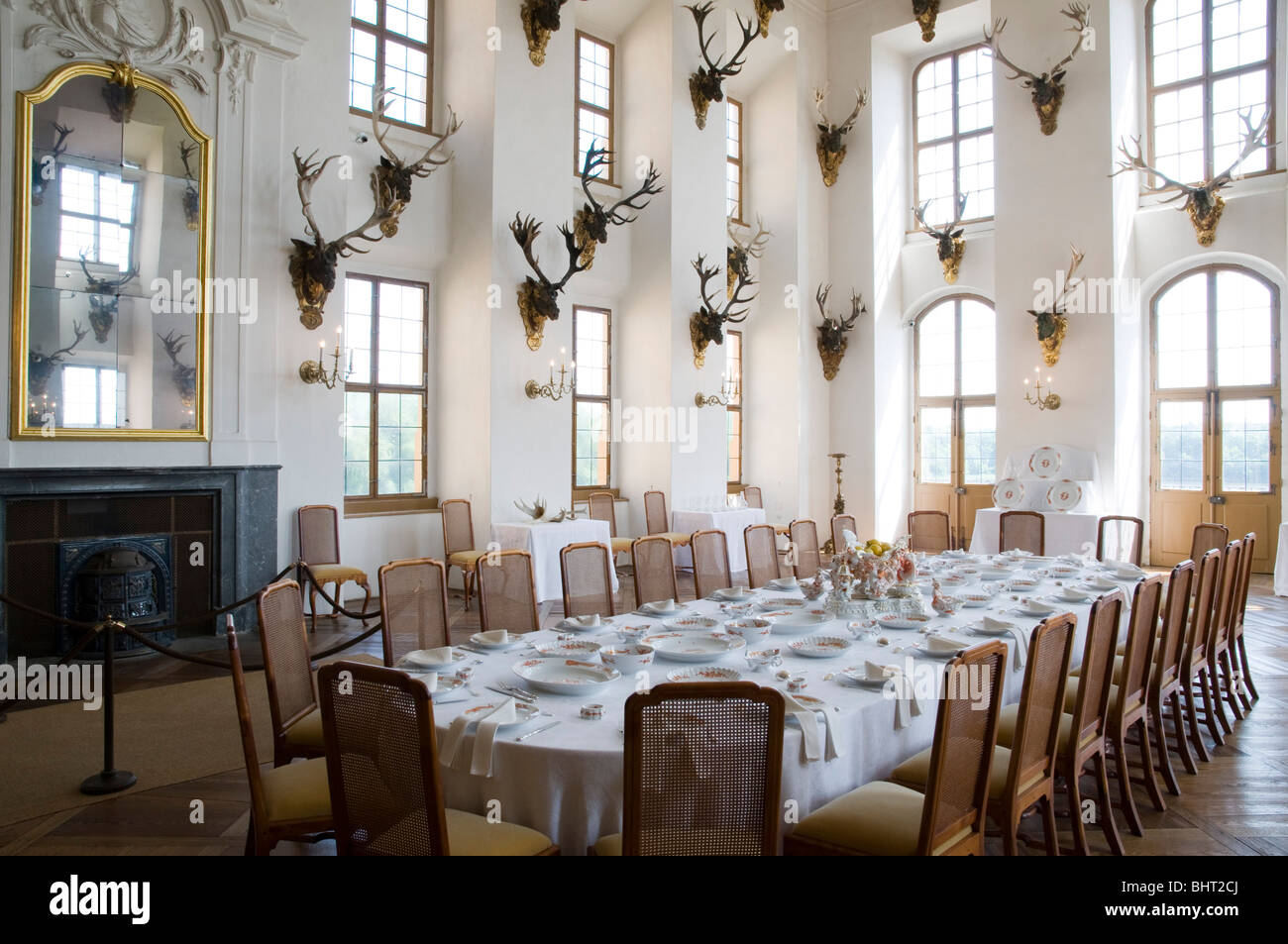 Schloss Moritzburg Innen, Speisesaal, Dresden, Sachsen, Deutschland |  Castle Moritzburg, Interior, Dining Hall, Dresden, Germany