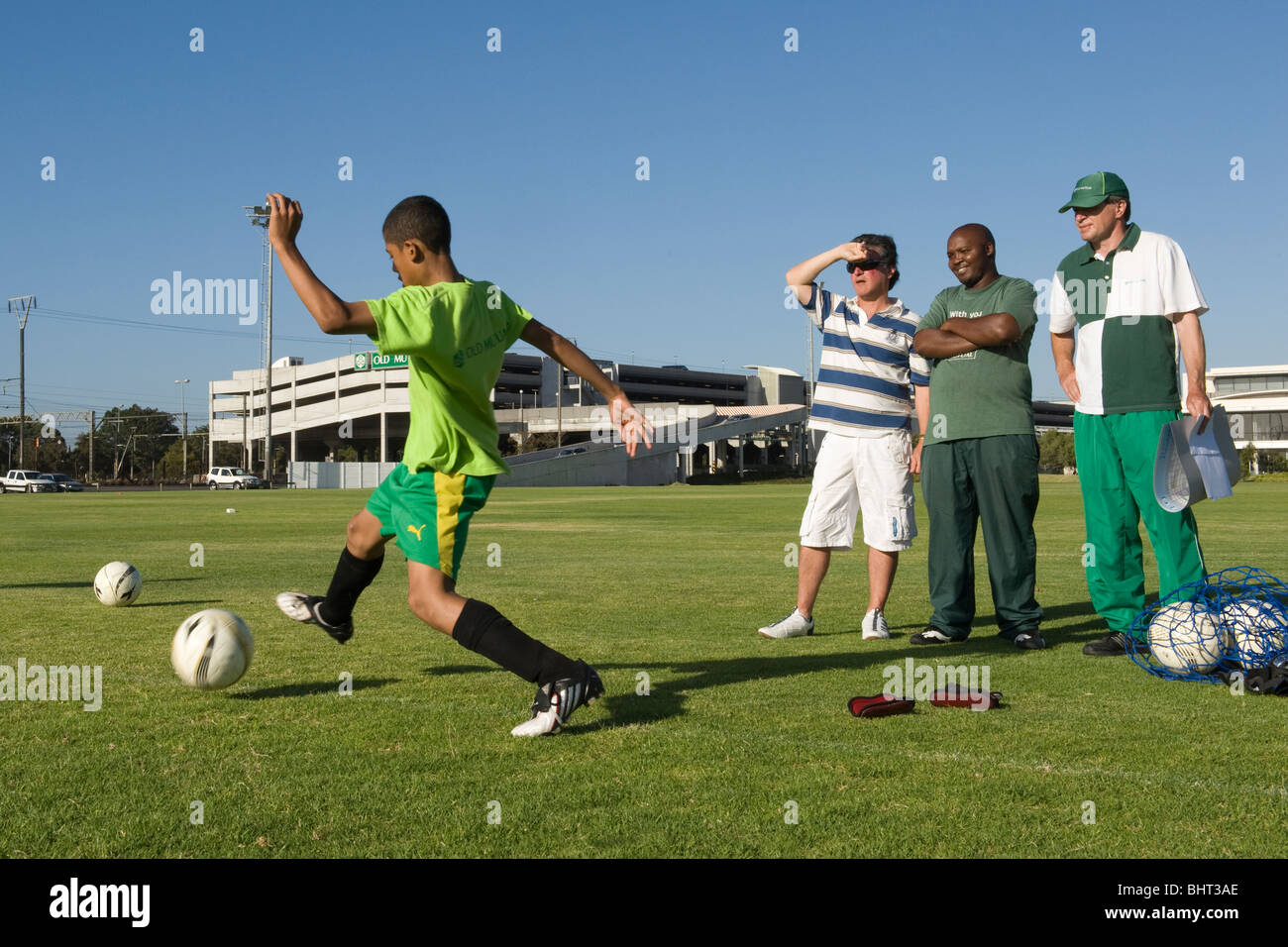 Club Mangers watching training at Old Mutual Football Academy, Cape Town, South Africa - Stock Image