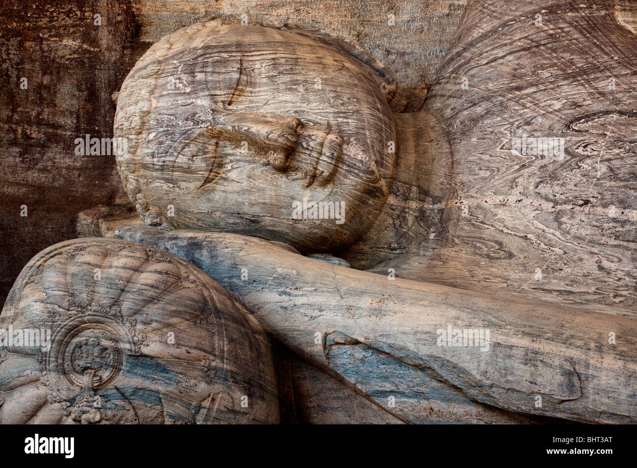 Close-up of Reclining Buddha, Gal Vihara, Polonnaruwa, Sri Lanka Stock Photo