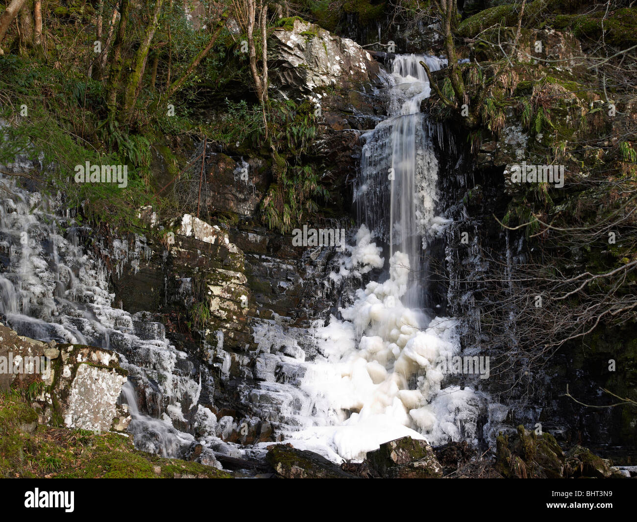 Frozen Waterfall, Lael, Nr Ullapool, Wester Ross, Highland Scotland Stock Photo