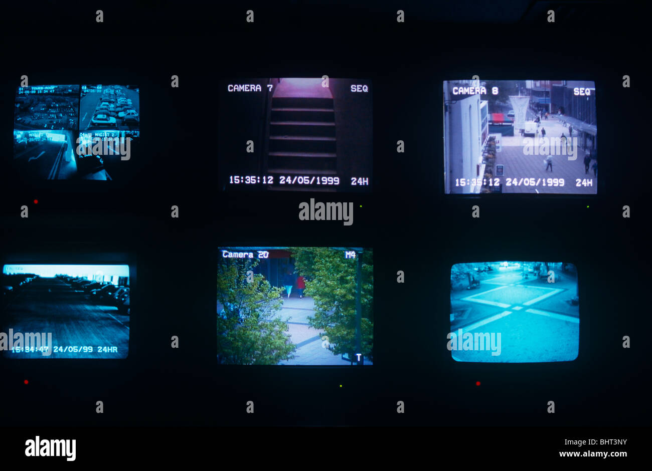 From the darkened room of Coventry council's CCTV control room, six screens show various city centre locations. - Stock Image