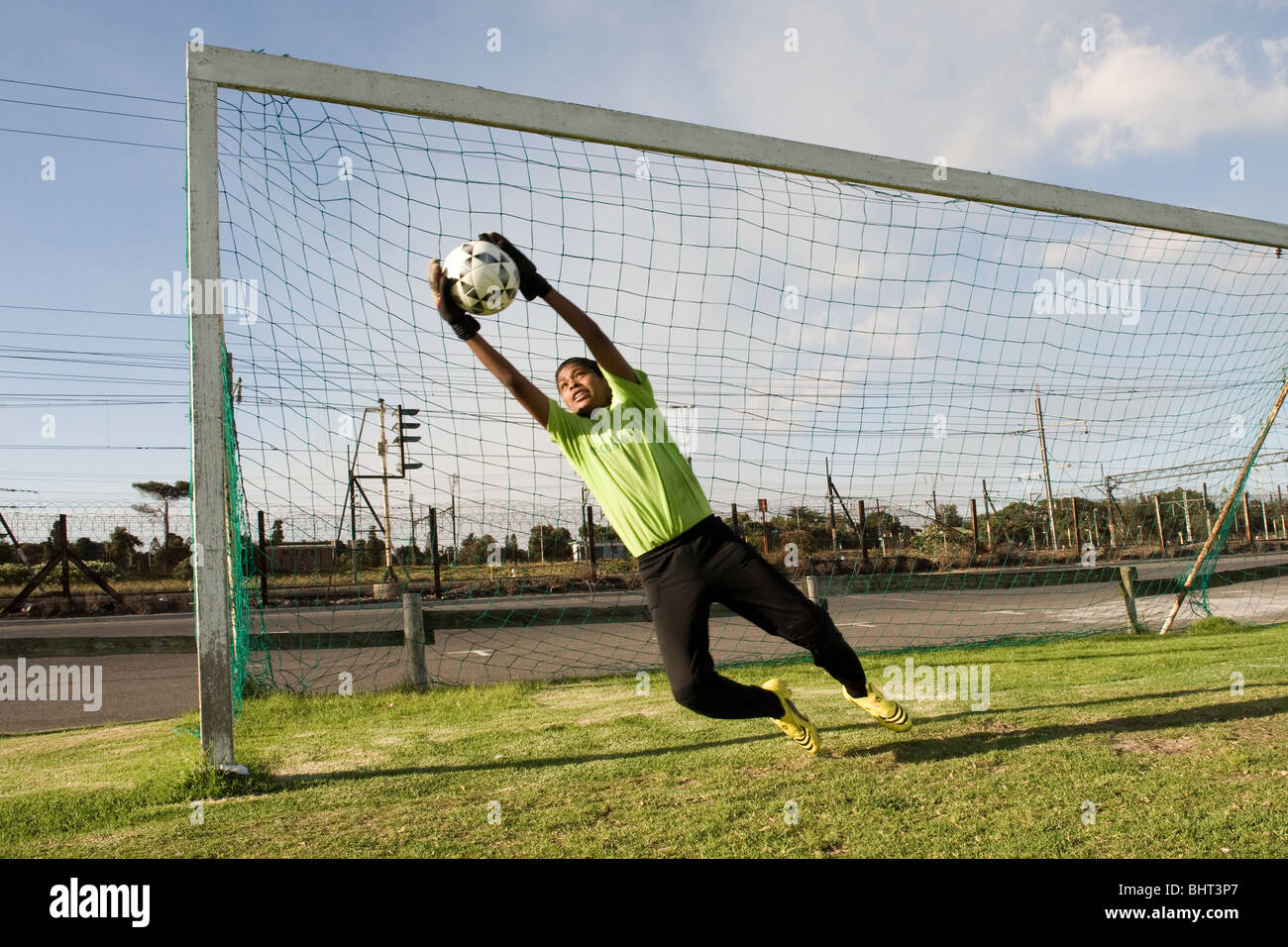 Goal keeper training at Old Mutual Football Academy, Cape Town, South Africa - Stock Image