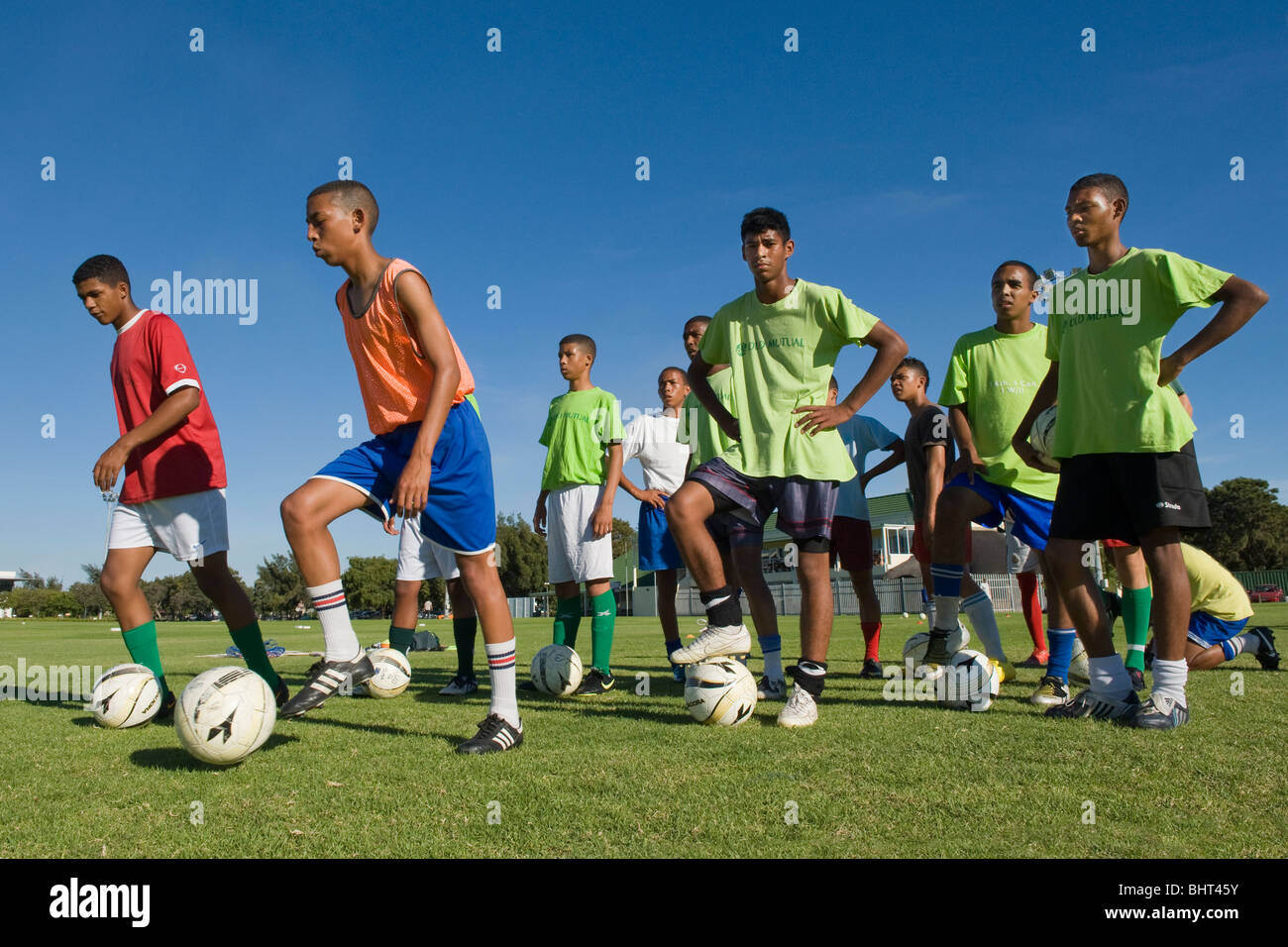 Players training at Old Mutual Football Academy, Cape Town, South Africa - Stock Image