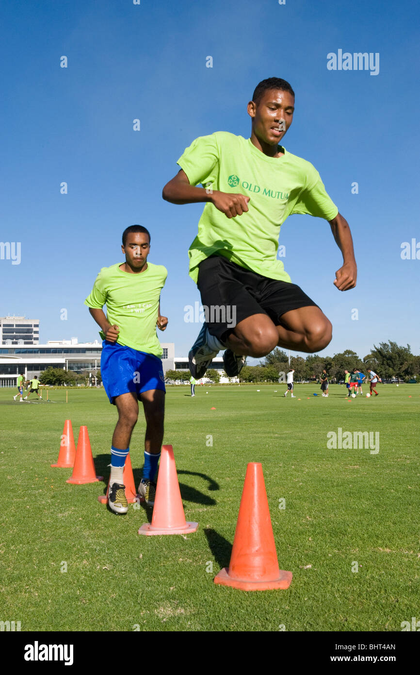 U 17 players training at Old Mutual Football Academy, Cape Town, South Africa - Stock Image