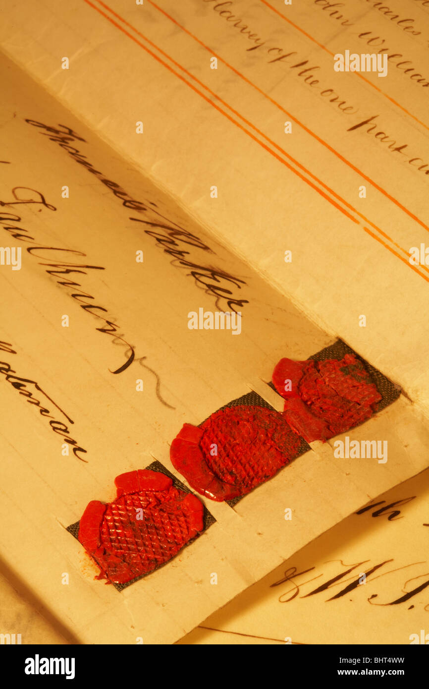 antique parchment legal contract document signed and sealed - Stock Image