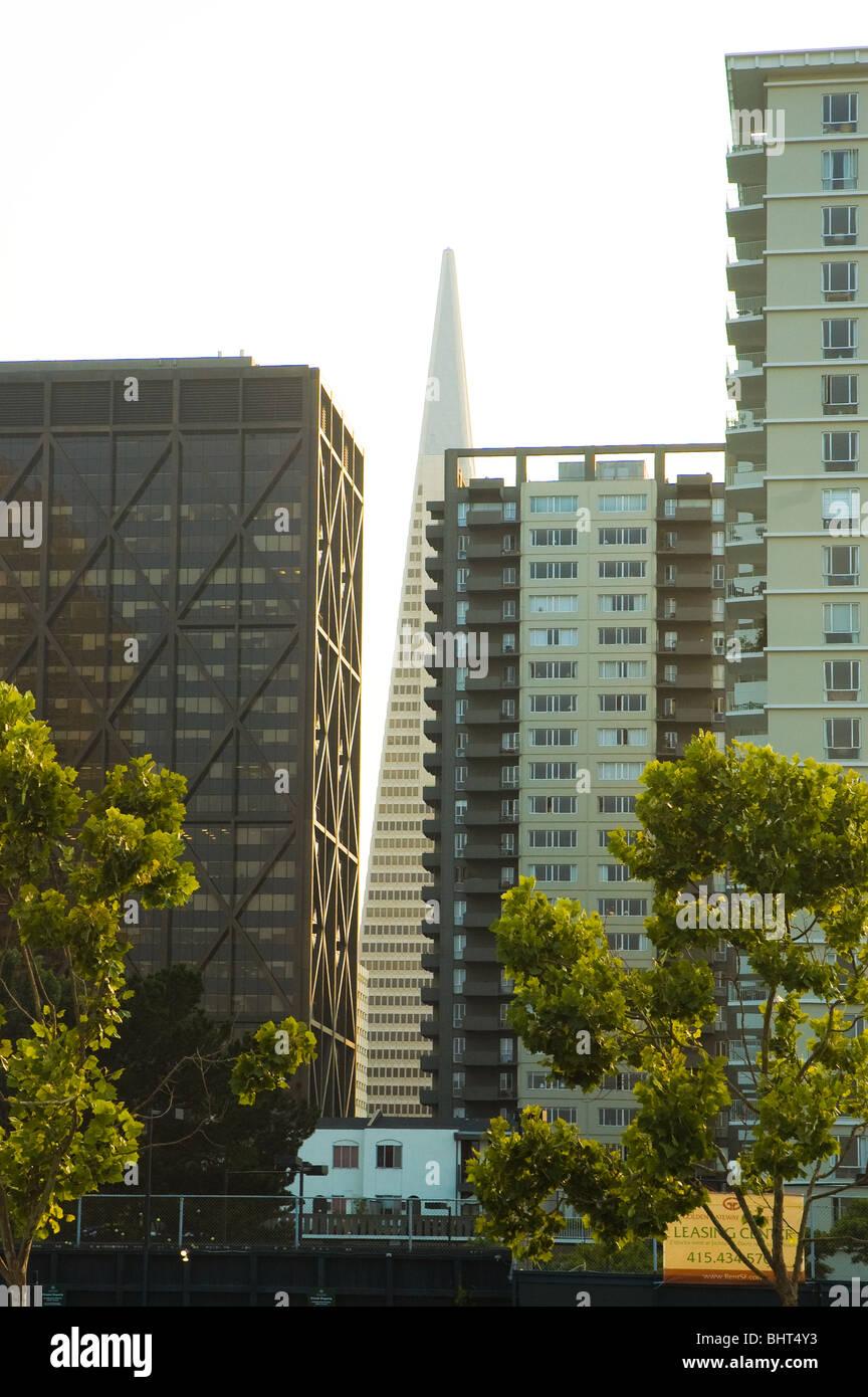 Architectural contrasts, San Francisco, California USA - Stock Image
