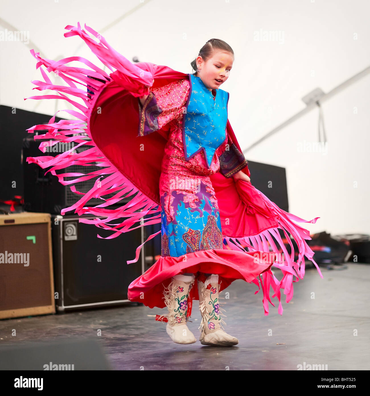 Young Native Canadian girl dancing, Festival du Voyageur, Winnipeg, Manitoba Canada. - Stock Image