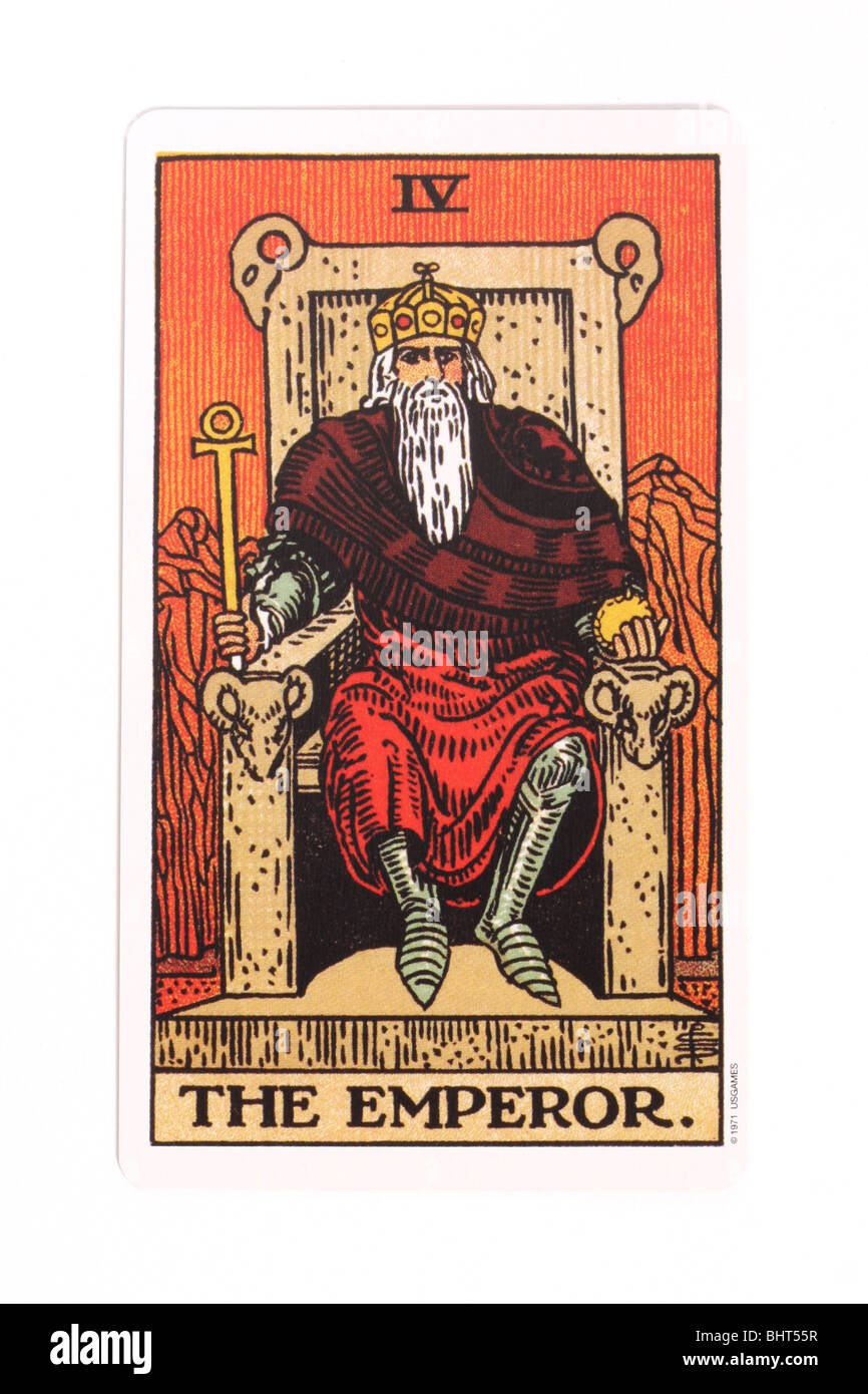 The Emperor card from a traditional tarot pack. - Stock Image