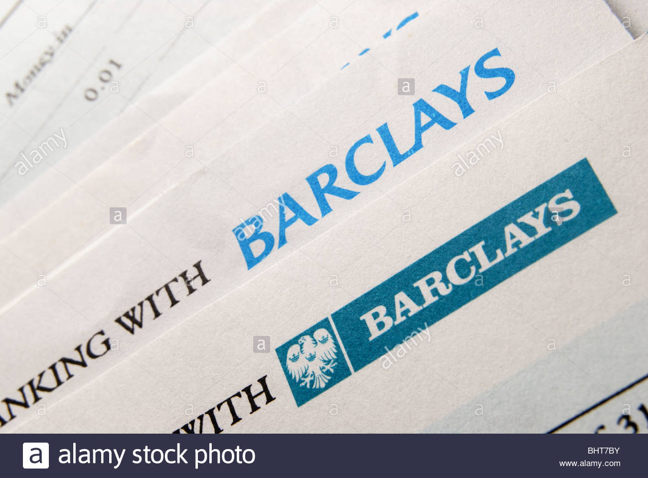 Barclays Bank statements showing different logo's. - Stock Image