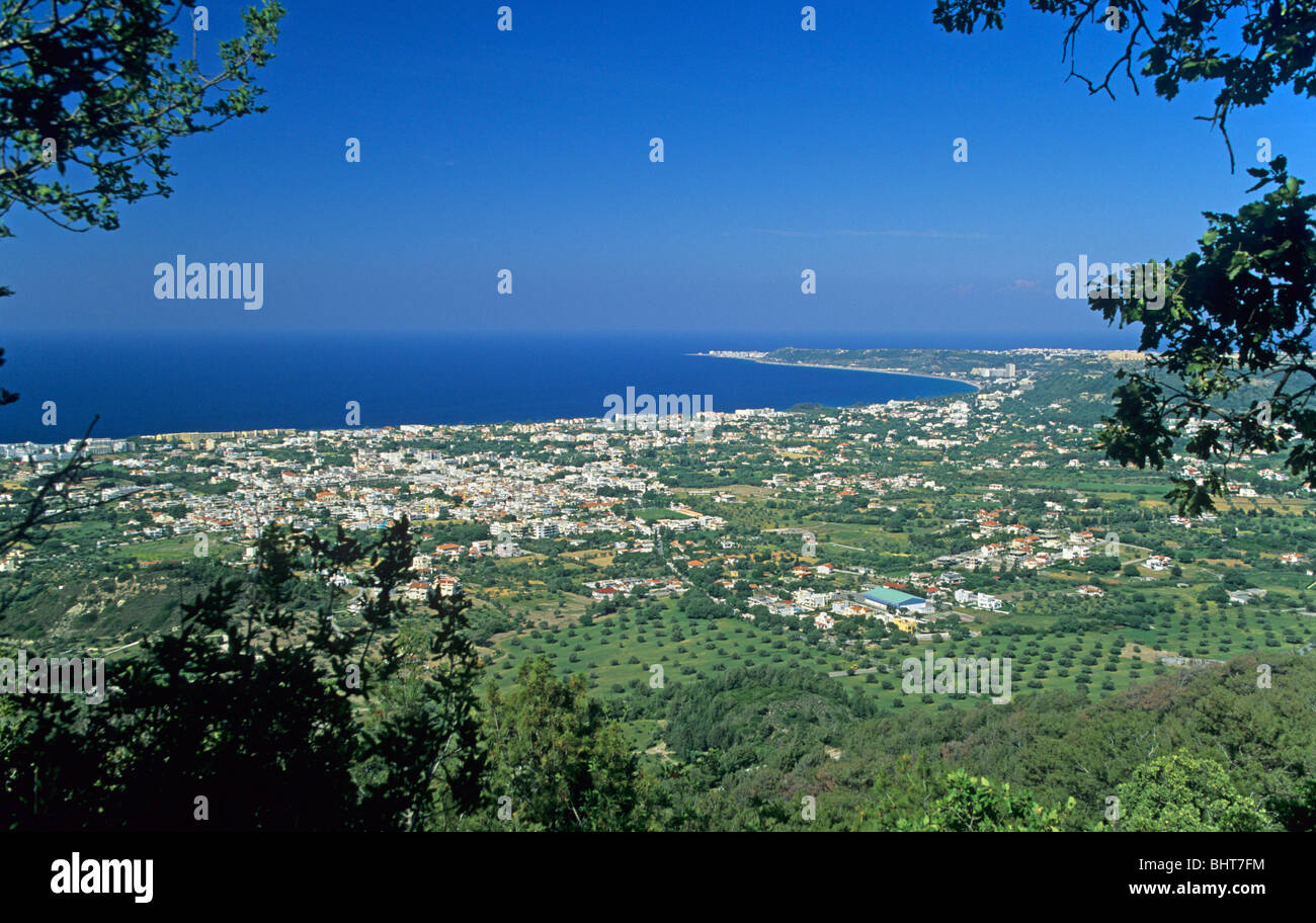 panoramic view of Ialyssos from Filérimos Mountain, Rhodes Island, Greece - Stock Image