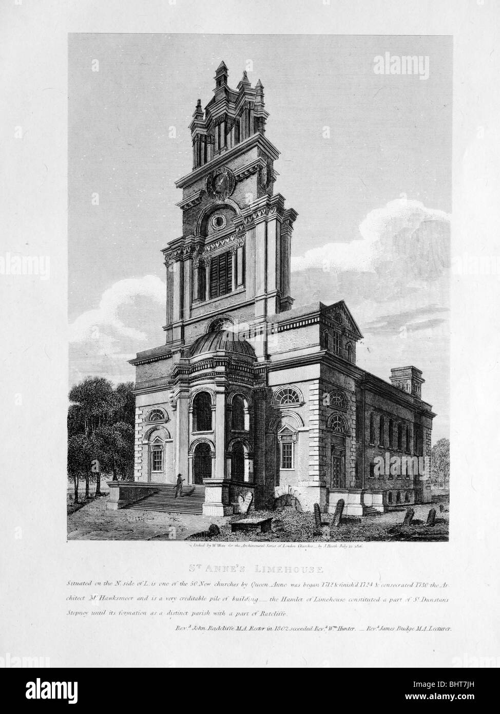 Antique etching of Saint Anne's, Limehouse - Stock Image
