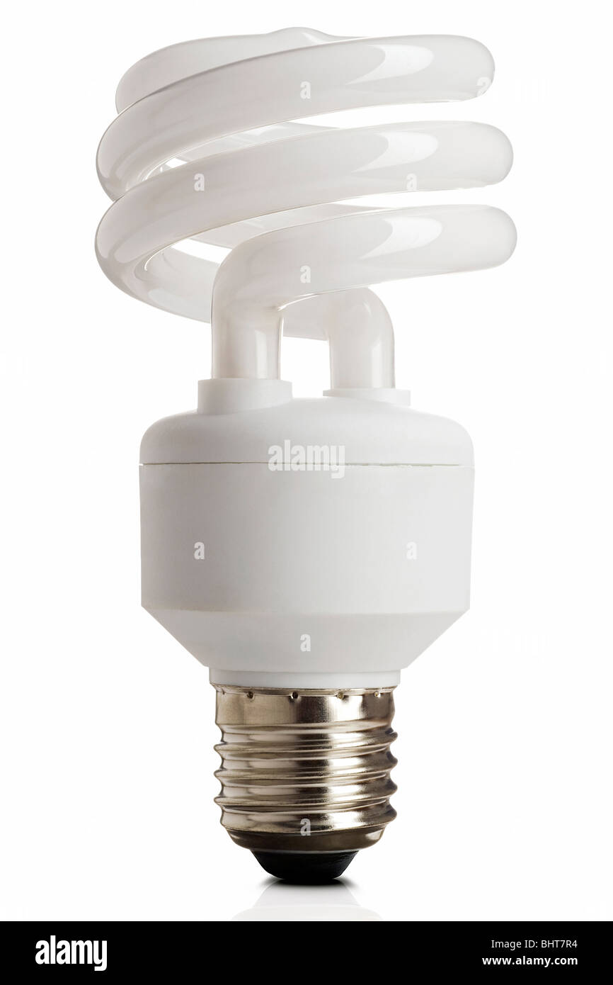 Compact fluorescent energy saving lightbulb on white with clipping path - Stock Image