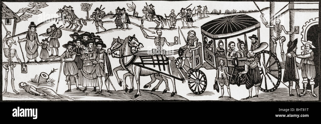 Flight of the townspeople into the country to escape from the Plague, 1630. Stock Photo