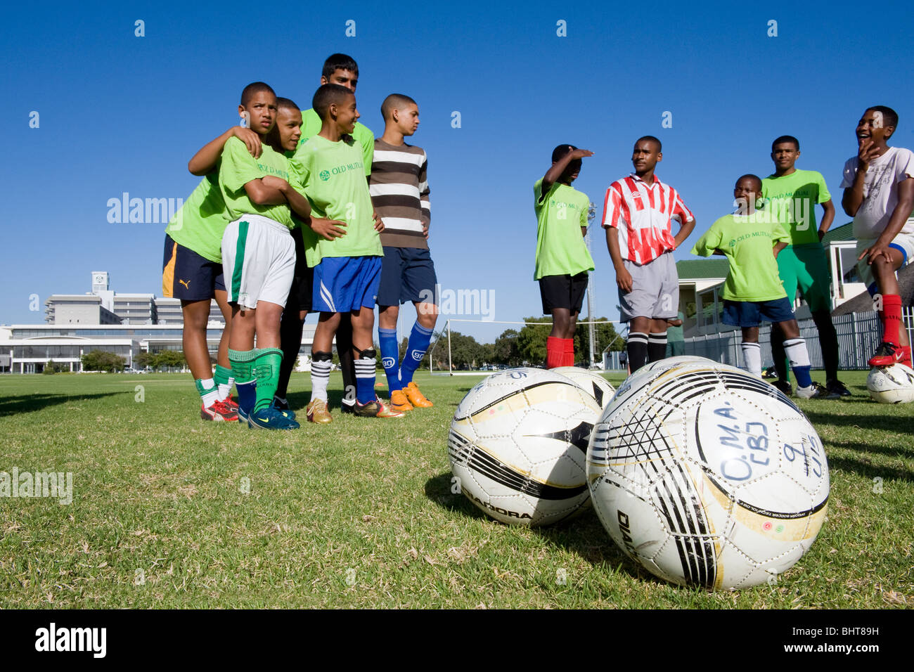 Players enjoying training at Old Mutual Football Academy, Cape Town, South Africa - Stock Image