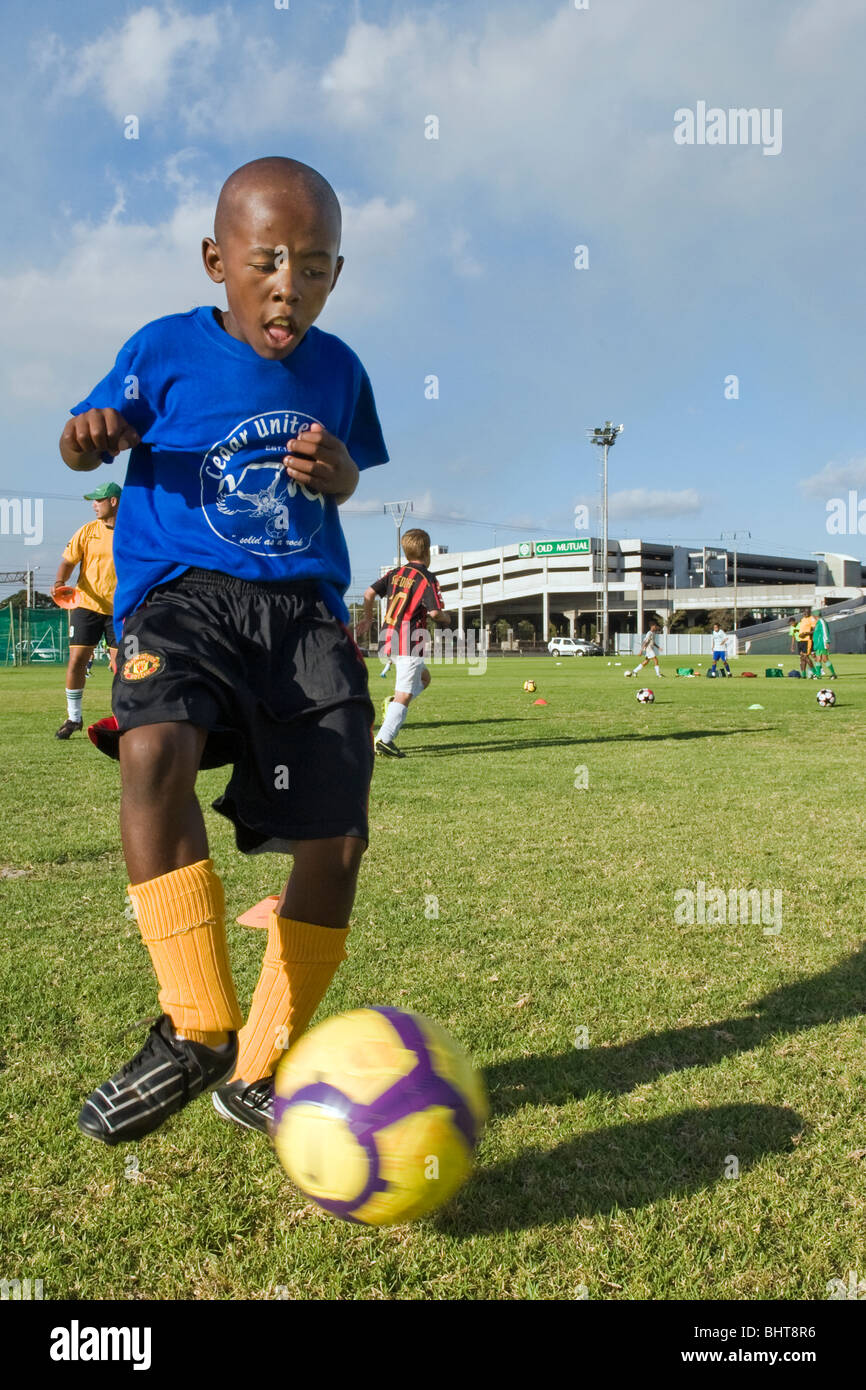 Young player training at Old Mutual Football Academy, Cape Town, South Africa - Stock Image
