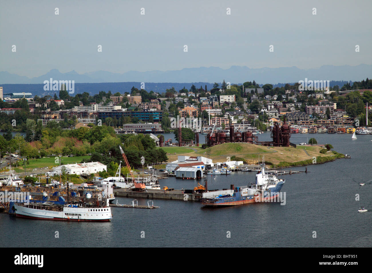 An arial view of Lake Union and Gasworks Park, Seattle. - Stock Image