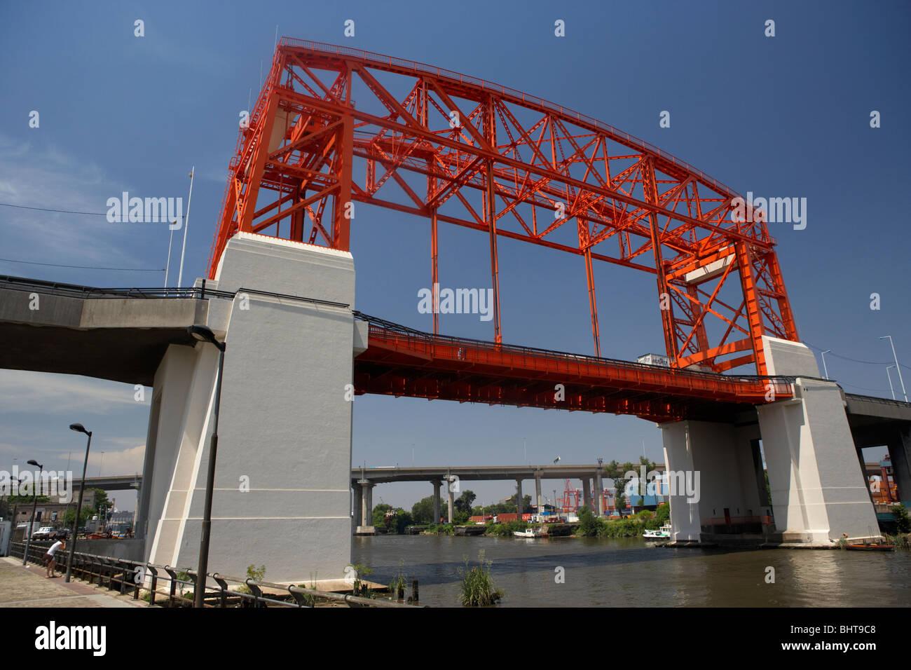 new nicolas avellaneda bridge across the riachuelo river la boca capital federal buenos aires republic of argentina - Stock Image