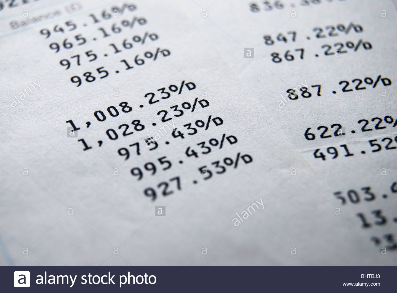 Balance on a UK bank account showing an overdraft. - Stock Image