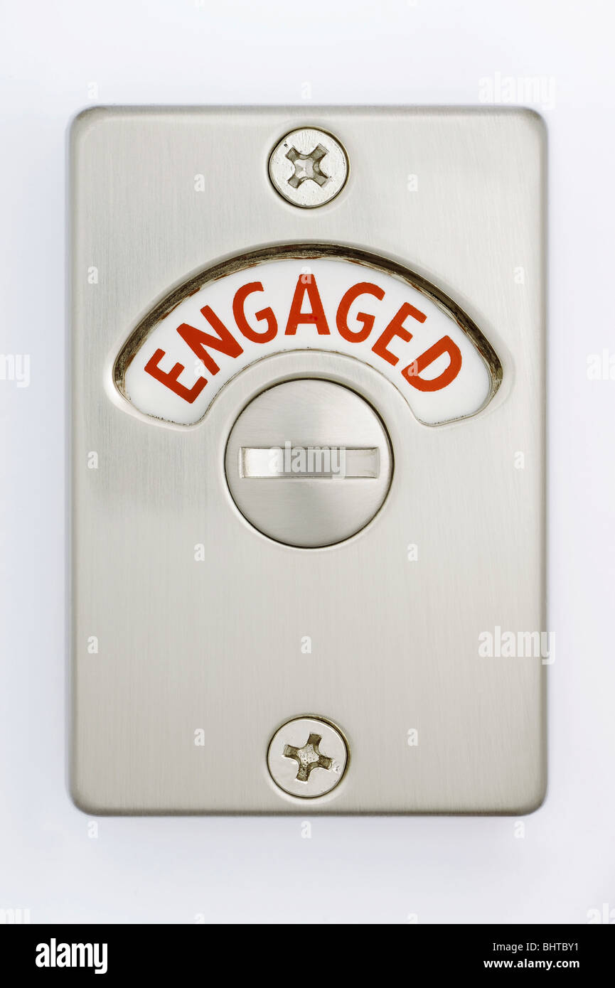 Engaged toilet sign stock photos engaged toilet sign - Bathroom door that fogs up when locked ...