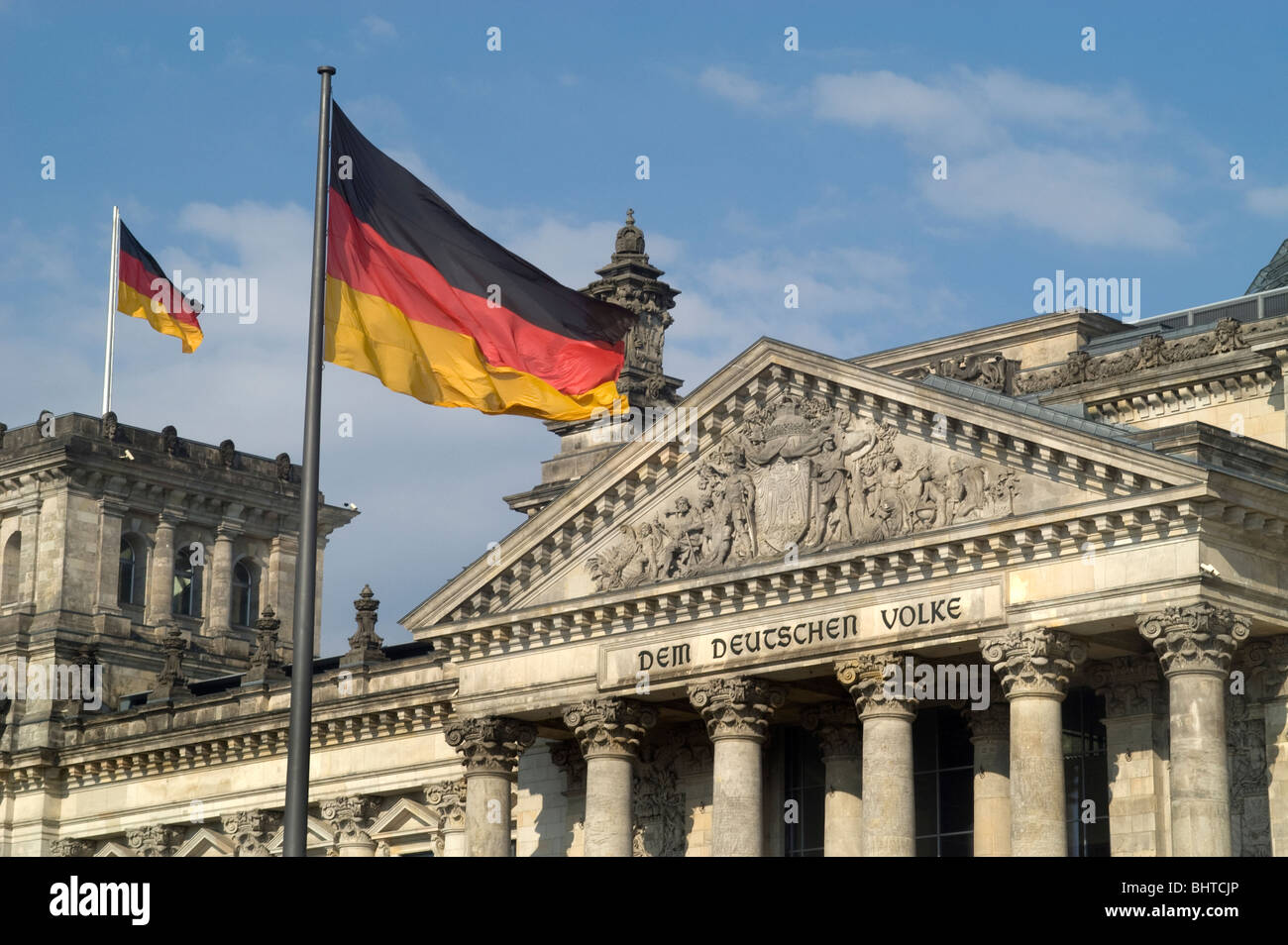 German Reichstag parliament Berlin Germany  Flag - Stock Image