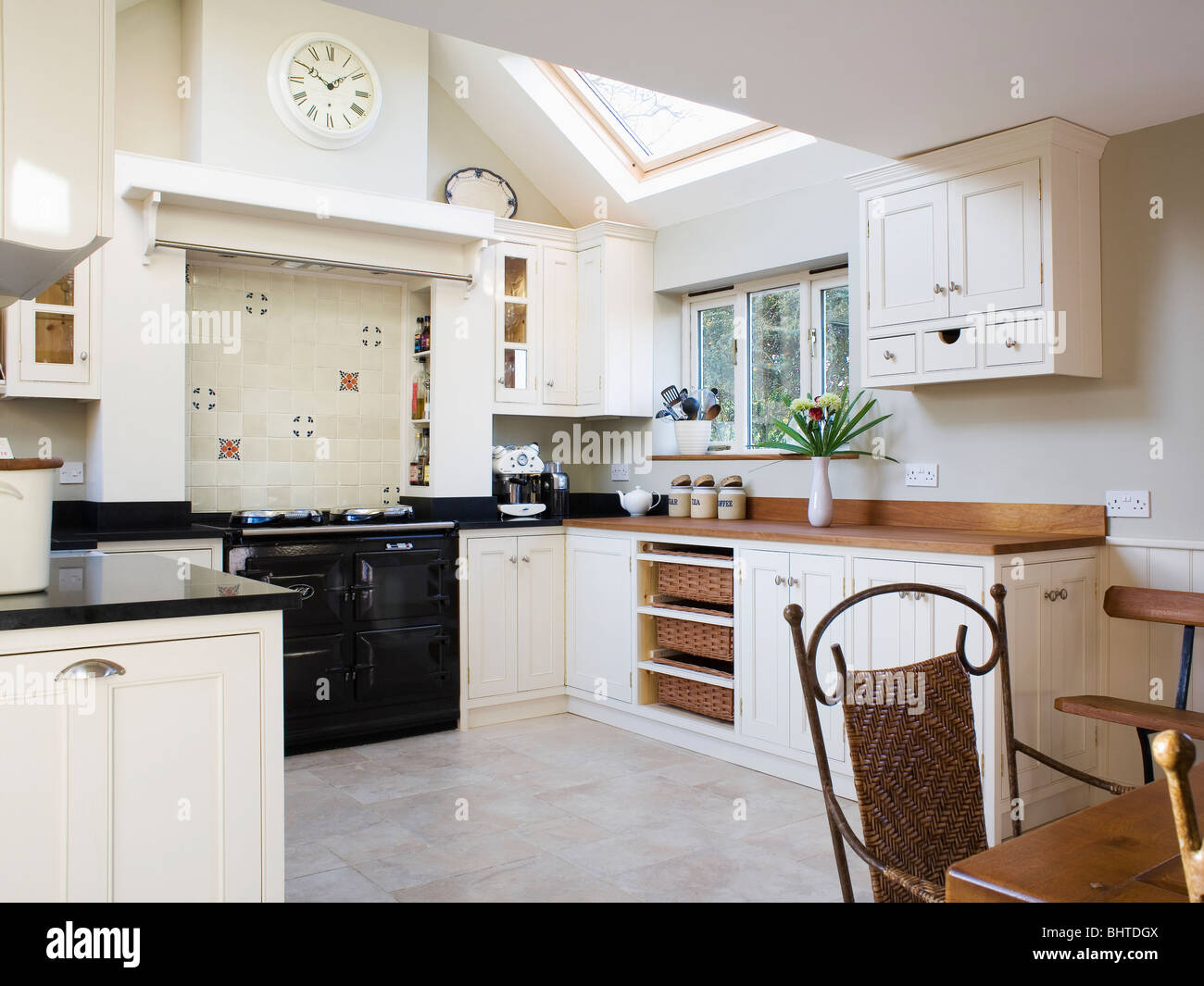 Black Aga oven in traditional cream kitchen dining room extension ...