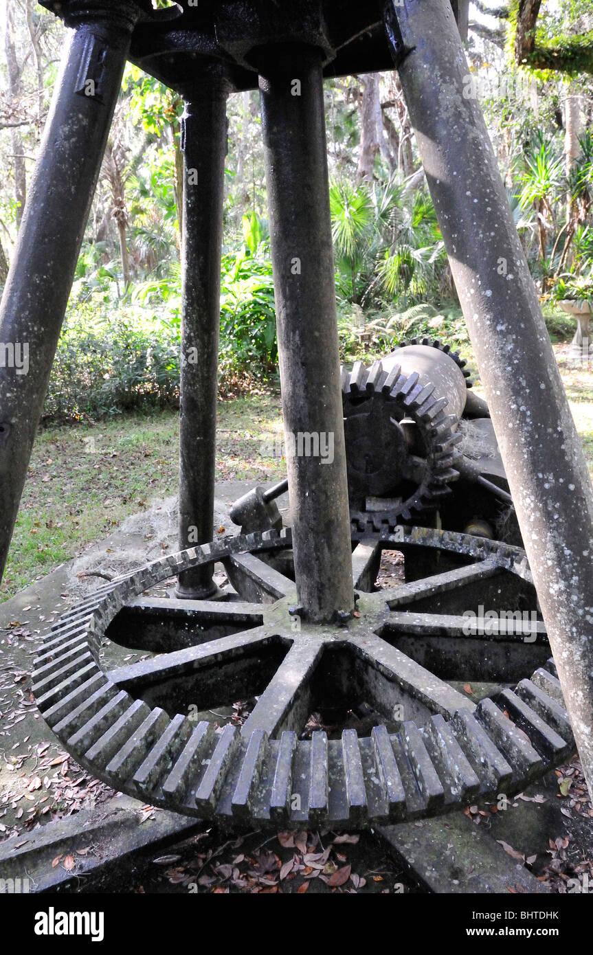 A sugar crusher displayed at the Dunlawton Sugar Mill Botanical Garden, Port Orange, Florida - Stock Image