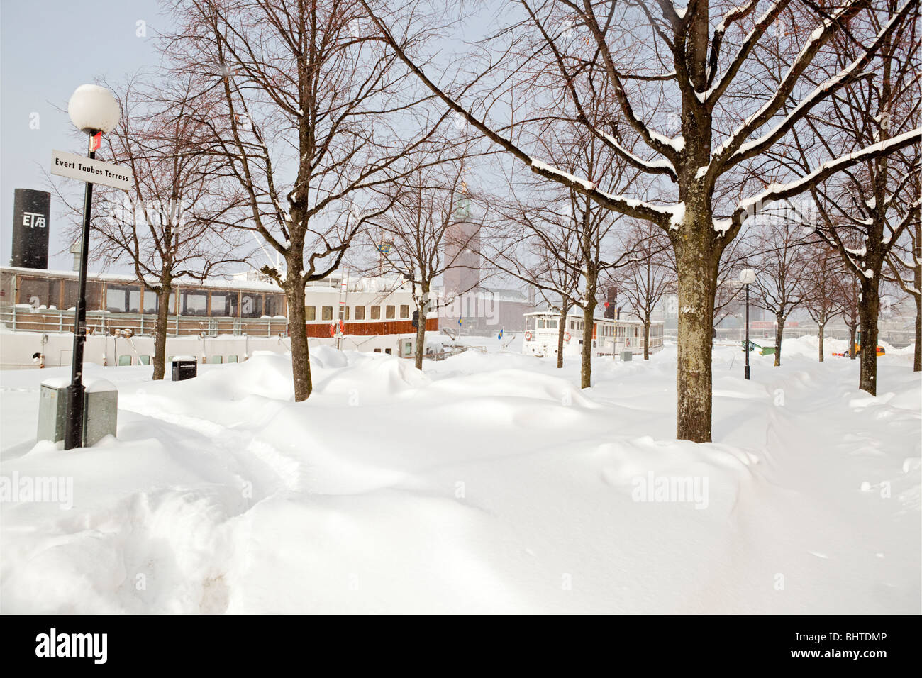 Winter at Riddarholmen in Stockholm after a heavy snowfall - Stock Image