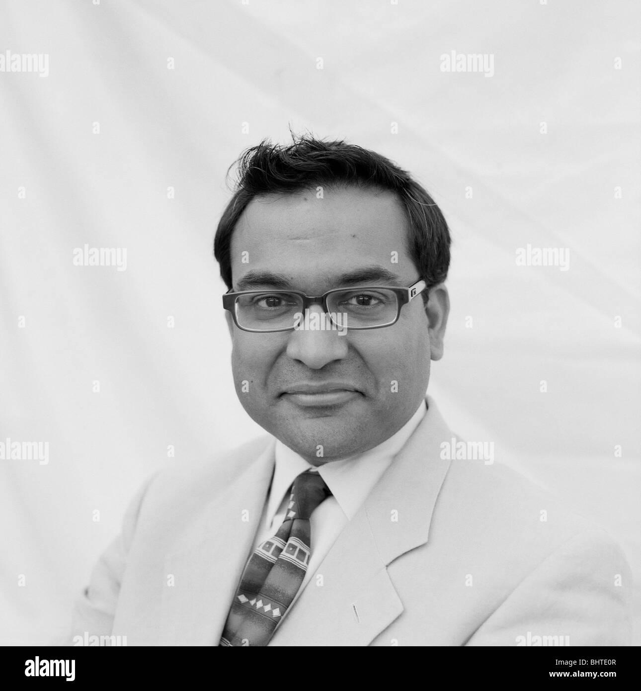 Psychiatrist Raj Persaud at the Guardian Hay Festival, Hay-on-Wye, Wales, UK - Stock Image