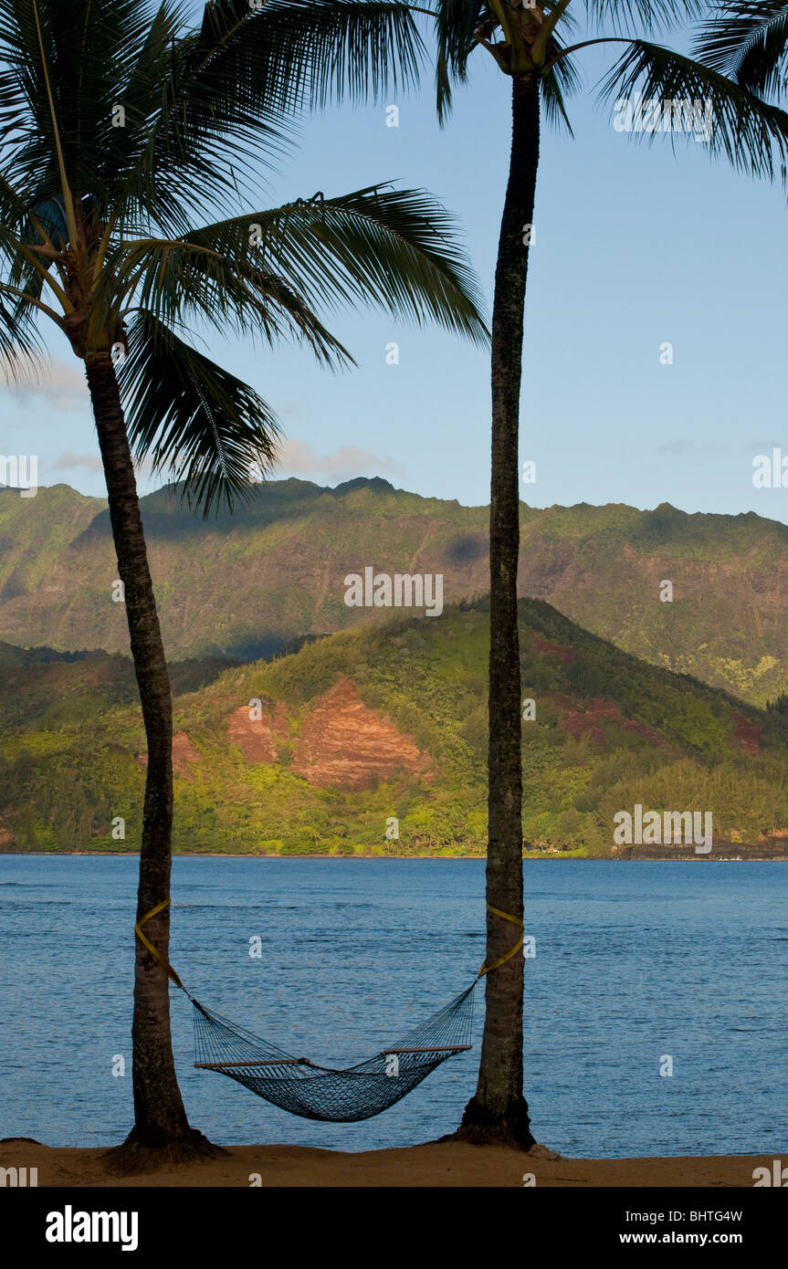 Restful east shore of Kauai, Hawaii. - Stock Image