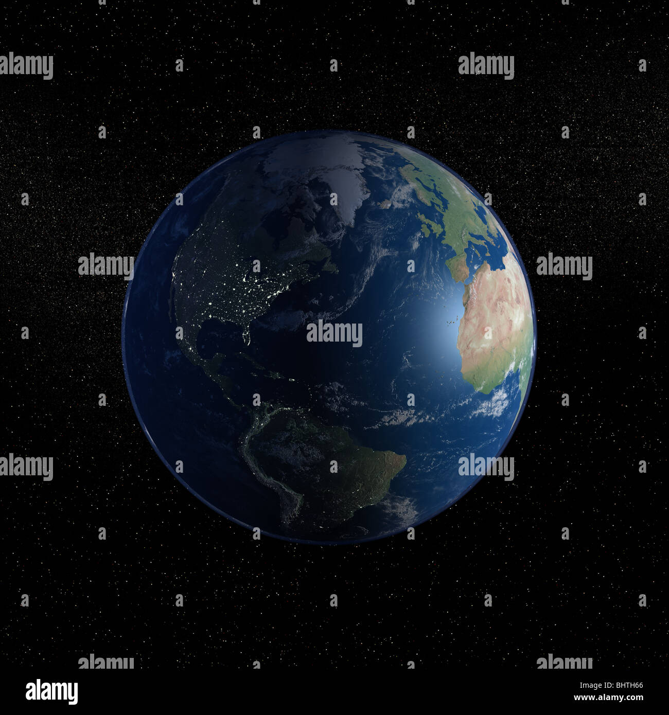 An exceptional quality photo-realistic rendered image of the Earth as seen from space on a background of stars - Stock Image