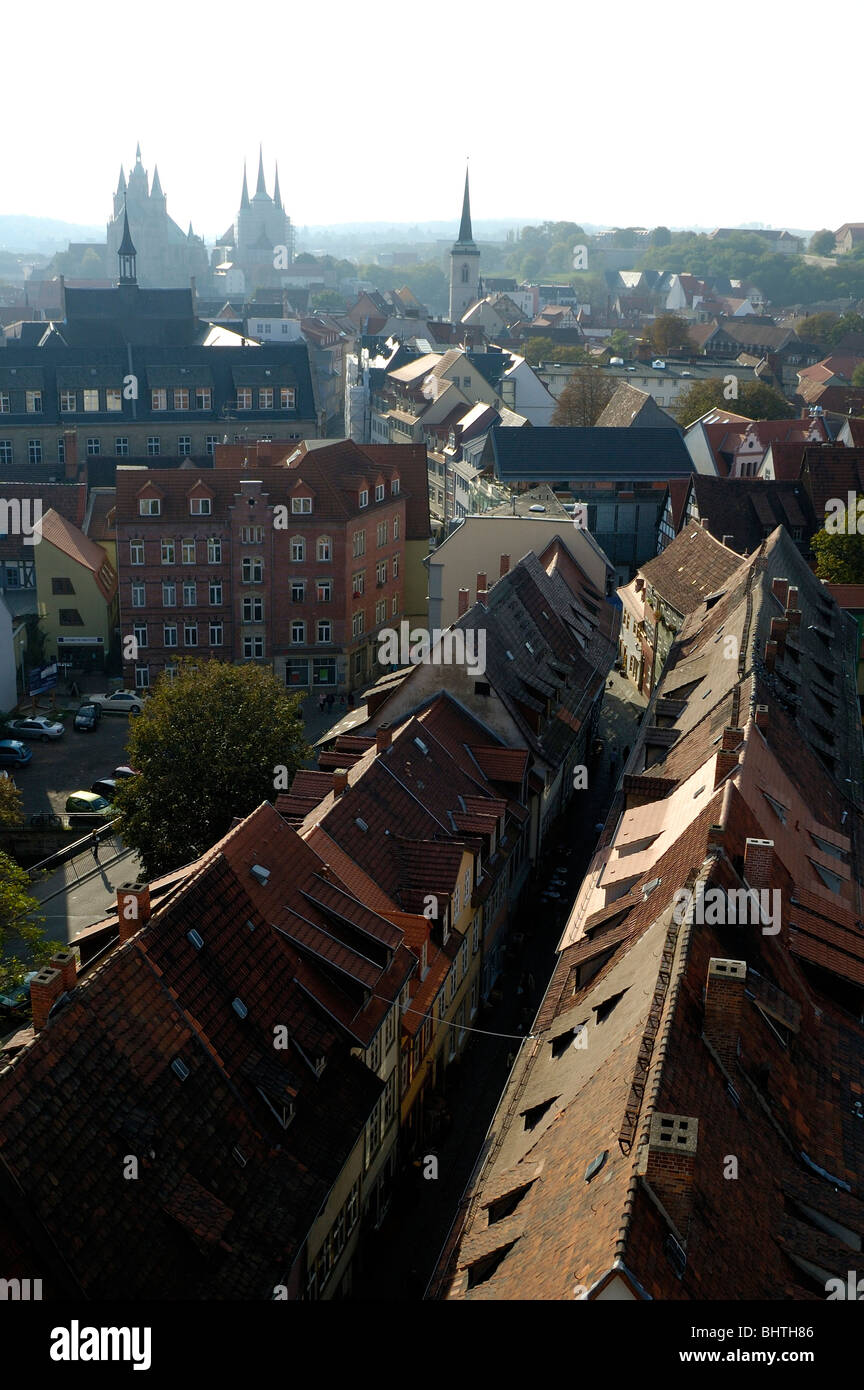 Erfurt, old town, View over Kraemer Bridge and old town - Stock Image