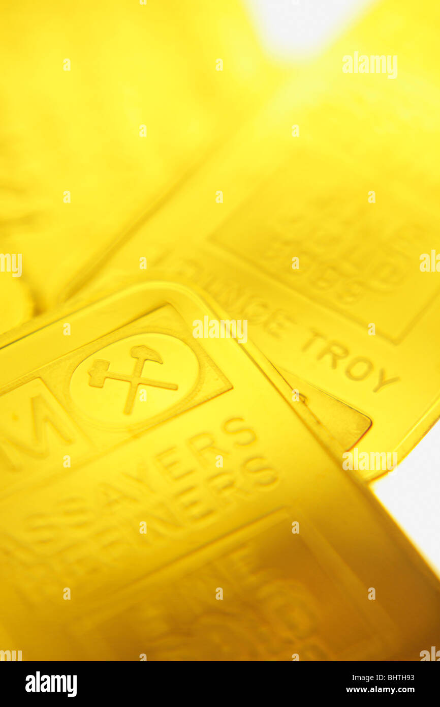 One ounce Gold bars - Stock Image